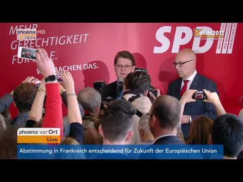 Landtagswahl Schleswig-Holstein: Ralf Stegner und Torsten Albig geben Statements am 07.05.2017