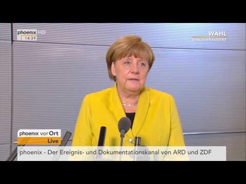 Ergebnis des Wahlgangs zum 12. Bundespräsidenten: Angela Merkel gibt Statement am 12.02.2017